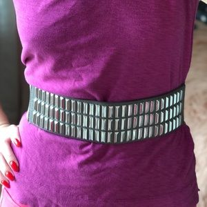 BCBG Silver Bar Waist Belt